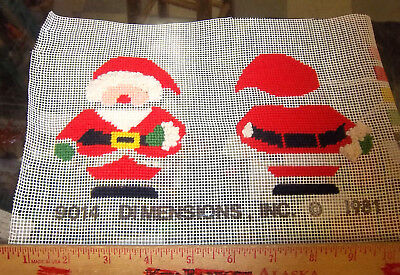 Handpainted Needlepoint canvas, mostly completed, Santa ornament front & back