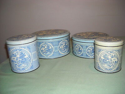 Vintage 1950's Willow Pattern Canisters/Tins- Set of  4 -  Willow Australia
