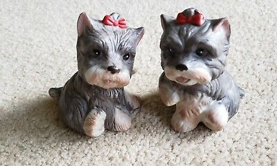 """Vintage HOMCO Yorkshire Terrier Dogs Porcelain Figurine """"1475  MADE IN MALAYSIA"""""""