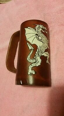 Dragon Medieval Renaissance Leather Tankard Handmade COLD Beverage Mug