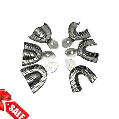 NEW Dental Stainless Steel Anterior Impression Trays Tool 6pcs/set Large Middle