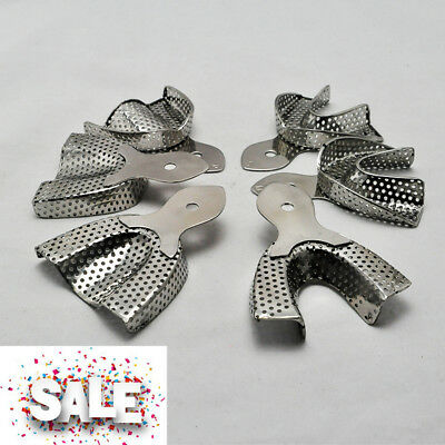 New 6pcs/set Stainless Steel Dental Anterior Impression Trays Size Large Middle