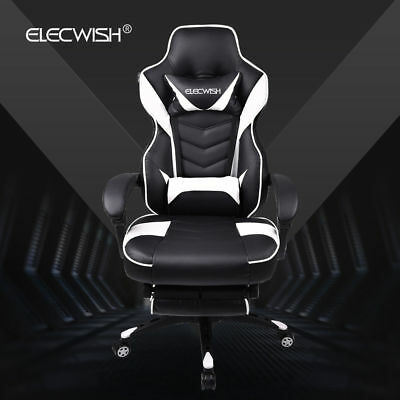 Ergonomic Computer Gaming Chair Office Desk Seat PU Leather Swivel Footrest Task
