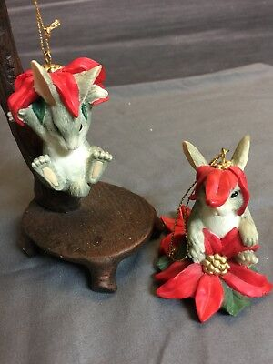 Dean Griff Silvestri Charming Tails Bunny/Poinsettia Ornaments- Set Of 2