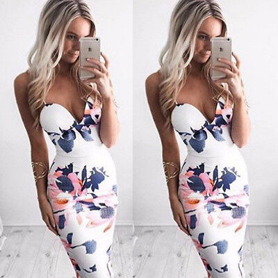 Women Summer Sleeveless Bodycon Floral Party Evening Cocktail Short Mini Dress