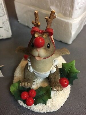 Charming Tails Fitz And Floyd  THE LITTLEST REINDEER  87/207 Mouse As Reindeer