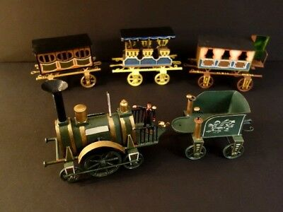 """Buchner 1870 Handpainted Reproduction Train And Coaches Lenght 28""""1/2"""