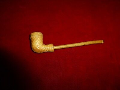 Great Civil War Era Clay Pipe With Wooden Stem / Excellent Condition!