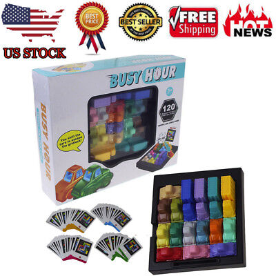 Fun Rush Hour Traffic Jam Logic Game Toy For Boys Girls Busy Hour Puzzle Game H