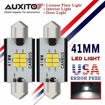 AUXITO 2X CANBUS 41MM LED Festoon Bulbs 211-2 White Interior Lamp Dome Light