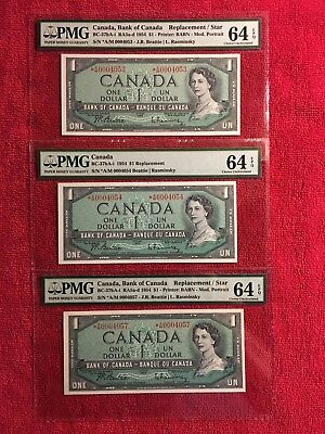 Bank of Canada BC-37bA-i  1954 1 Dollar Replacement/Star *AM 3 notes PMG 64EPQ