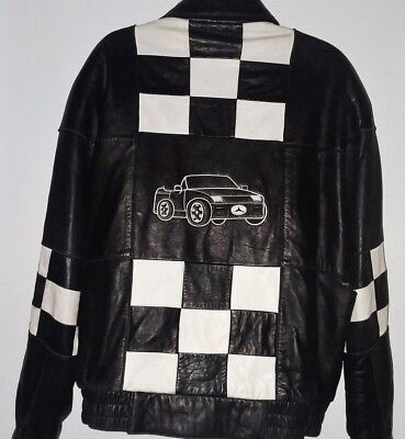 RUFFIANO Mens Black Mercedes Car Jacket Genuine Leather Outerwear Checkered SZ L
