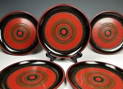 5 VIBRANT 1855 JAPANESE LACQUER DISHES Edo Period Rare Set Pristine Antique