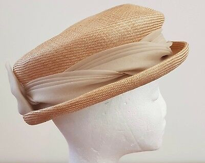Vintage 60s BEIGE CREAM Woven Straw Chiffon Bow Decorated School Girl Style HAT
