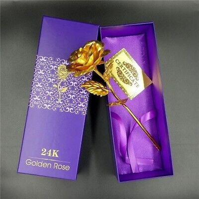 Gorgeous 24k Gold Dipped Forever Rose Valentines Girlfriend Anniversary Wife