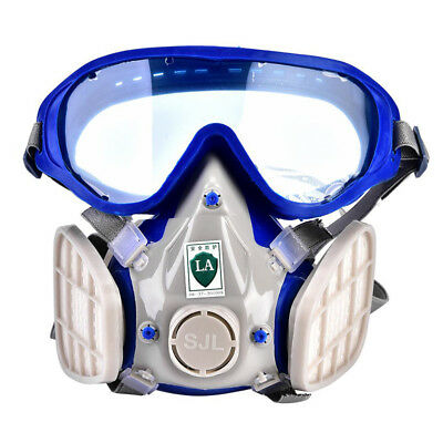 Antidust Full Face Respirator Gas Mask Double Filter Air Protection Breathing UK