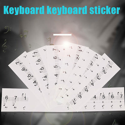 Transparent Piano Stickers Music Keyboard Key Note Labels for 54/61/88 Keyboards