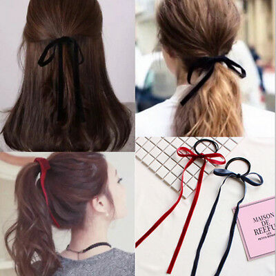Women Girls Simple Velvet Ribbon Bow Elastic Hairband Tassel Hair Tie Hair Ropes