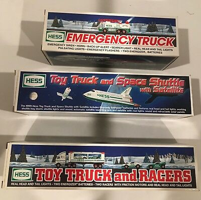 Lot Of 3  Vintage Hess Vehicles- Space Shuttle/ Truck & Racers / Emergency  Mib