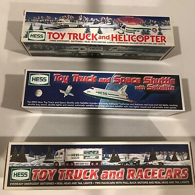 Lot Of 3  Vintage Hess Vehicles- Space Shuttle/ Truck & Racers /helicopter  Mib
