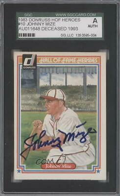 1983 Donruss Hall of Fame Heroes #10 Johnny Mize SGC Authentic Baseball Card
