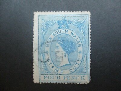 NSW Stamps: 4d Stamp Duty Used - Great Item    (F34)