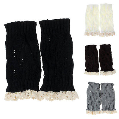 1X(Women Lady Warm Lace Trim Crochet Knitted Boot Cuffs Toppers Leg Socks (