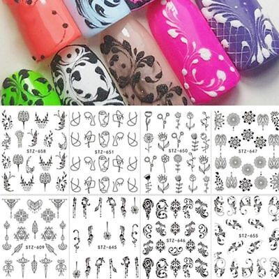 3 Sheets Black White Flower Nail Art Water Decal Transfer Sticker  Fashion