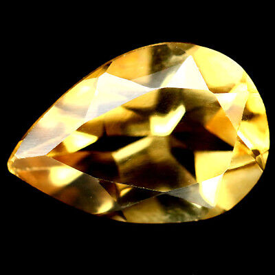 1.66 CT VVS NATURAL GOLDEN YELLOW BRAZIL CITRINE PEAR 7 X 10 mm.