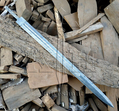 "Damascus Knife  Custom Handmade - 30"" Full Tang Damascus Steel Blank Blade"