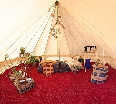 Coir Carpet 5M Red Full Bell Tent Yurt Tipi Outdoors Second Hand C&ing & 5M BELL TENT Camping Canvas Tent Beach Yurt British Safari ...