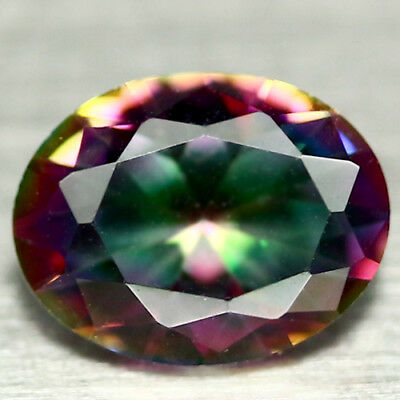 1.46 CT VVS NATURAL  MULTICOLOR MYSTIC AFRICA QUARTZ OVAL 7 X 8 mm.