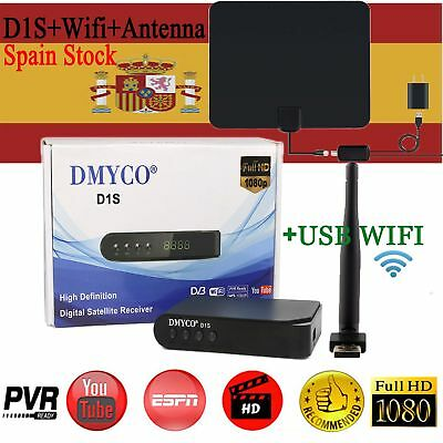 FTA DVB D1S HD DVB-S2 Satellite Receiver Full HD 1080P Biss Key+USB Wifi+Antenna