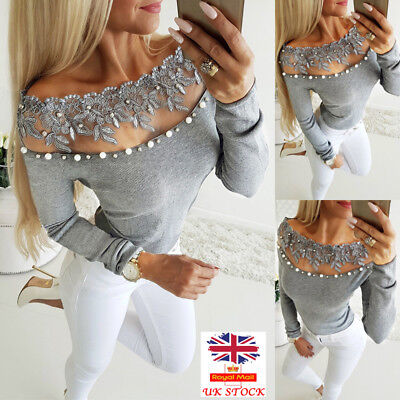 Women Lace Off Shoulder Long Sleeve Shirt Tops Ladies Sexy Casual T-Shirt Blouse