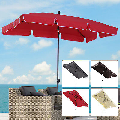 Sun Umbrella Parasol Patio Garden Rectangular Aluminium 2 Colours 2x1.25M