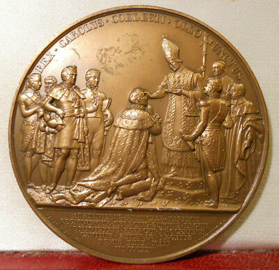 Charles X Large 70Mm French King Medal Cathedrale Reims 1825 Coronation