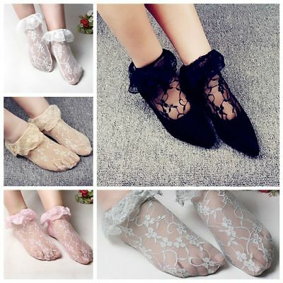 1 Pair Casual Elastic Nylon Hollow Floral Lace Transparent Ultrathin Short Socks