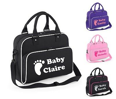 Personalised Baby Changing Bag Name Storage Carry Clothing Newborn Mum Pram FOOT