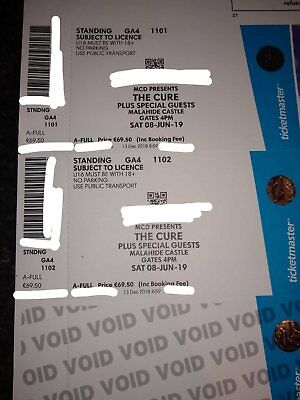 The Cure 2 Tickets Malahide Castle Dublin 8th June 2019. Selling as a pair.