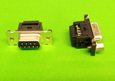 IDC Dee 9 Way Panel Mount Socket D Female + 4-40 UNC Hank Bush's on Rear x 2pcs