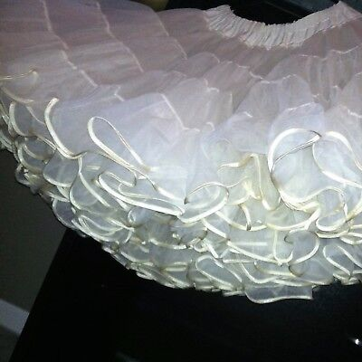 "Excellent Vtg Ruffled Petticoat Usa Ivory White Waist Approx 27-32"" Square Dance"