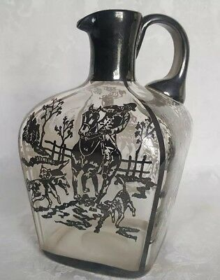 Antique Crystal Whiskey Jug Decanter Sterling Silver Overlay Hunting Scene