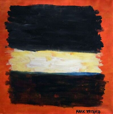 Vintage Abstract Painting Signed Mark Rothko, Modern Old 20th Century Art