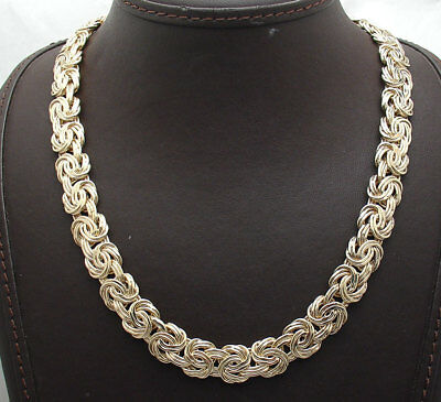 Technibond Polished Classic Byzantine Chain Necklace 14K Yellow Gold Clad Silver