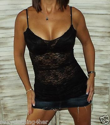 3e753be98e Very Sexy Low Cut Cleavage Sheer Lace Long Layering Tunic Tank Cami Top  Black S