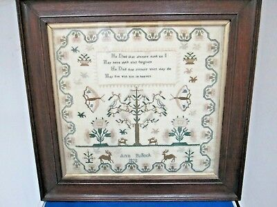 Antique 1828 Period Hand Done Stags Butterfly Embroidered Sampler