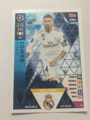 """N.42 """" S.Ramos"""" Real Madrid  MATCH ATTAX CHAMPIONS LEAGUE 2018-2019"""