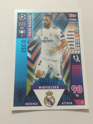 """N.47 """"ISCO"""" Real Madrid  MATCH ATTAX CHAMPIONS LEAGUE 2018-2019"""