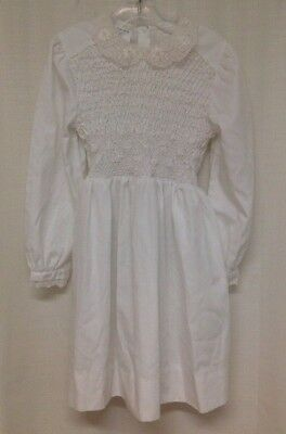 Vintage Girl's Doll Dress Size 7 Polly Flinders Hand Smocked White Long Sleeve