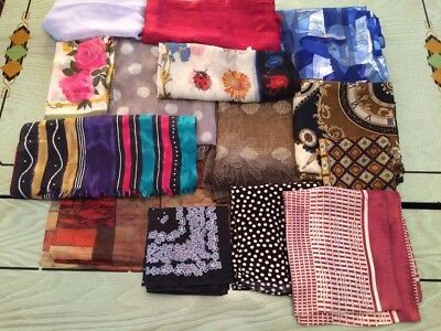 Lot of 14 Great SCARVES Various Colors Sizes Materials Vintage & Current LOVELY